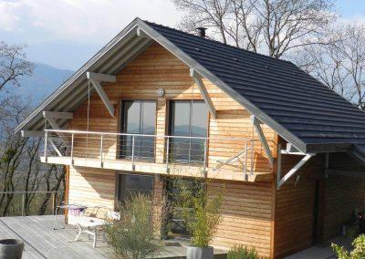 Balcon sur maison ossature bois Seyssel